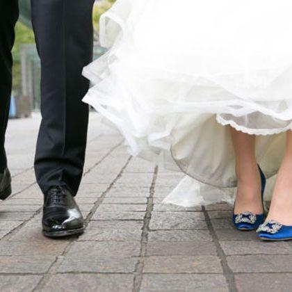 Photograph, White, Dress, Bride, Footwear, Leg, Wedding dress, Snapshot, Wedding, Ceremony,