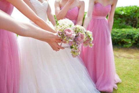 Dress, Pink, Photograph, Clothing, Bouquet, Gown, Bridal party dress, Bride, Wedding dress, Purple,