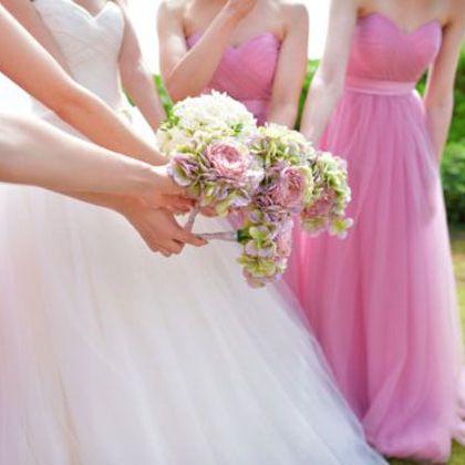 Dress, Pink, Photograph, Clothing, Gown, Bridal party dress, Bride, Bouquet, Purple, Wedding dress,