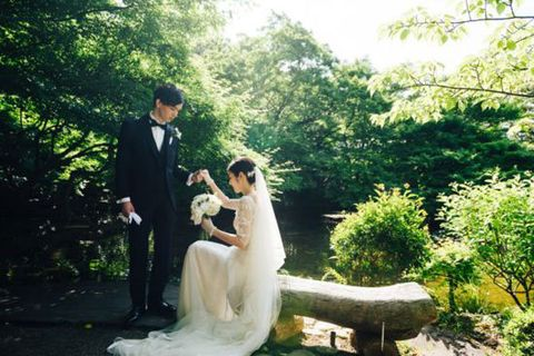 Photograph, Bride, Wedding dress, Dress, Bridal clothing, Wedding, Ceremony, Gown, Botany, Romance,