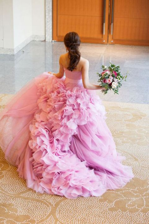 Gown, Dress, Clothing, Pink, Wedding dress, Quinceañera, Bridal party dress, Bridal clothing, Shoulder, Formal wear,