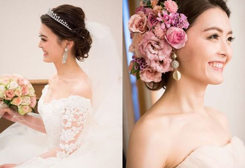 Hair, Bride, Headpiece, Photograph, Hair accessory, Hairstyle, Pink, Clothing, Skin, Dress,