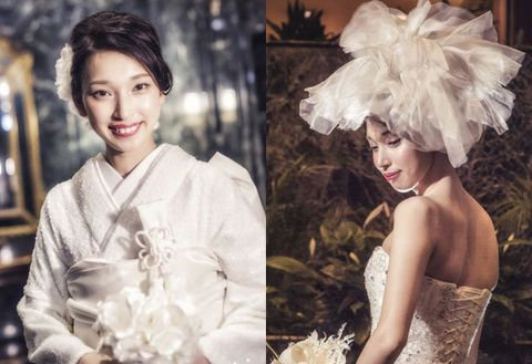 Headpiece, Photograph, Beauty, Hairstyle, Fashion, Dress, Hair accessory, Wedding dress, Smile, Bride,