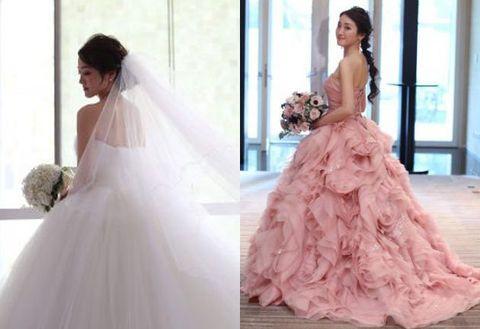 Gown, Wedding dress, Clothing, Dress, Bride, Shoulder, Bridal clothing, Pink, Photograph, Fashion model,