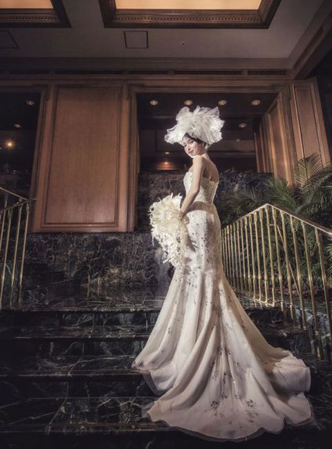 Gown, Wedding dress, Bride, Dress, Photograph, Clothing, Bridal clothing, Bridal accessory, Bridal party dress, Fashion,