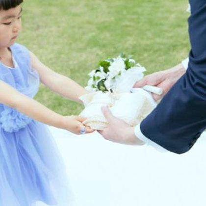 Photograph, Child, Gesture, Flower, Holding hands, Interaction, Dress, Hand, Plant, Ceremony,