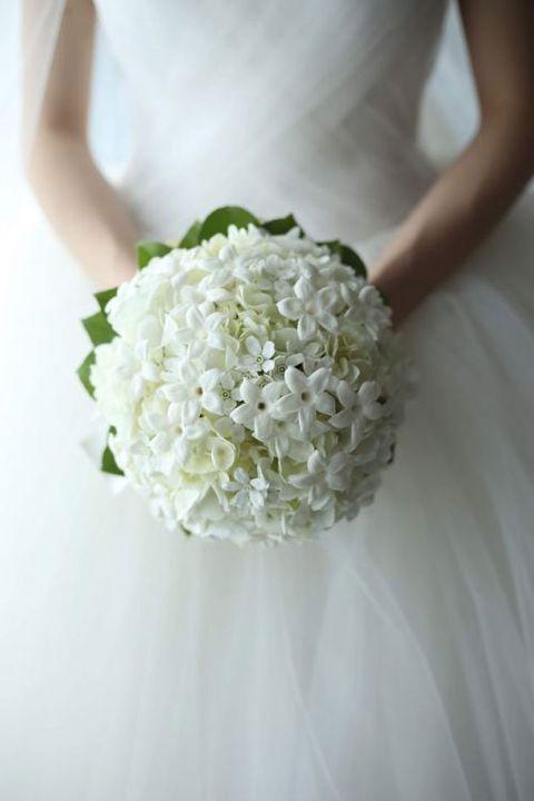 White, Bouquet, Flower, Dress, Plant, Bride, Wedding dress, Gown, Cut flowers, Hydrangea,