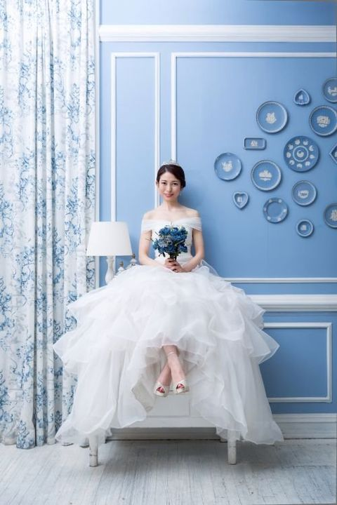 Wedding dress, Bride, Gown, Dress, Photograph, Clothing, White, Blue, Bridal clothing, Bridal party dress,