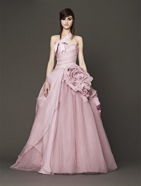 Gown, Fashion model, Clothing, Dress, Bridal party dress, Shoulder, Formal wear, Pink, Wedding dress, Haute couture,