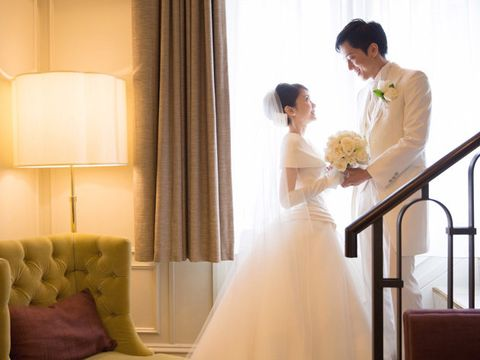 Bride, Photograph, Gown, Wedding dress, Dress, Bridal clothing, Ceremony, Wedding, Shoulder, Yellow,