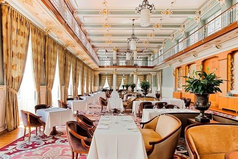 Restaurant, Building, Ceiling, Room, Interior design, Property, Function hall, Dining room, Table, Furniture,