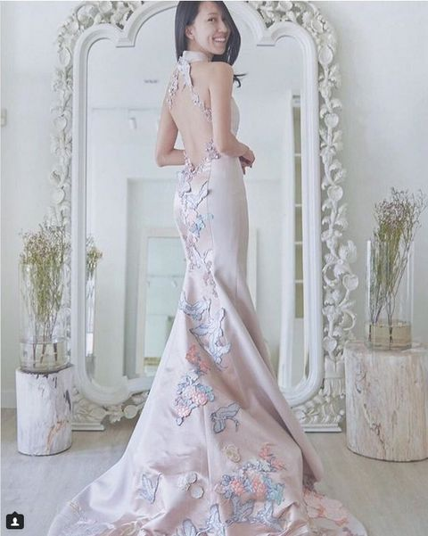 Gown, Clothing, Dress, Wedding dress, Shoulder, Bridal clothing, Bridal party dress, Haute couture, Pink, Beauty,