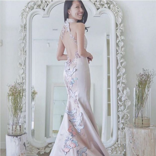 Gown, Clothing, Dress, Wedding dress, White, Shoulder, Bridal party dress, Bridal clothing, Haute couture, Pink,