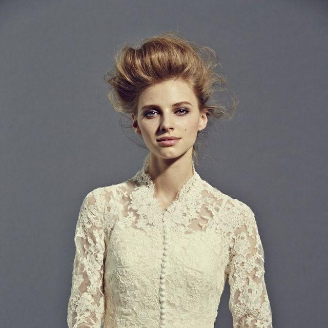 Hair, Clothing, Fashion model, Dress, Gown, Hairstyle, Fashion, Beauty, Wedding dress, Sleeve,