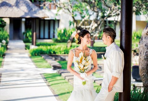 Photograph, Bride, White, Wedding dress, Yellow, Dress, Ceremony, Bridal clothing, Wedding, Marriage,
