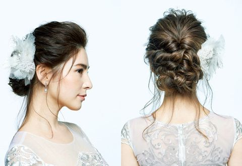 Hair, Hairstyle, Chin, Chignon, Skin, Bun, Beauty, Forehead, Long hair, Shoulder,