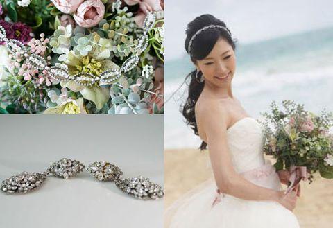 Headpiece, Hair accessory, Bride, Clothing, Dress, Head, Fashion accessory, Pink, Bouquet, Headgear,