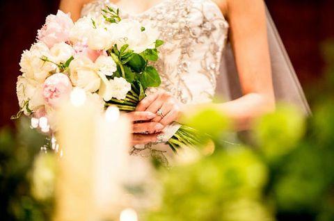Photograph, Bouquet, Bride, Wedding dress, Flower Arranging, Dress, Flower, Marriage, Floristry, Floral design,