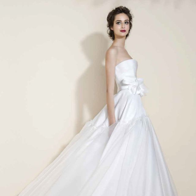 Gown, Wedding dress, Clothing, Dress, Fashion model, Bridal party dress, Bridal clothing, Photograph, Bridal accessory, Shoulder,
