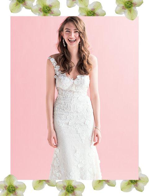 Dress, Clothing, Bridal party dress, Gown, Wedding dress, Bridal clothing, Pink, A-line, Shoulder, Cocktail dress,