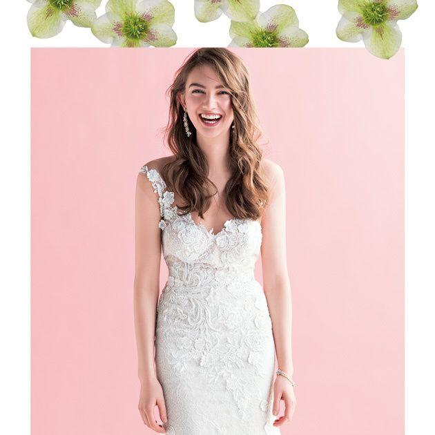 Dress, Clothing, Bridal party dress, Gown, Wedding dress, Pink, A-line, Bridal clothing, Shoulder, Neck,