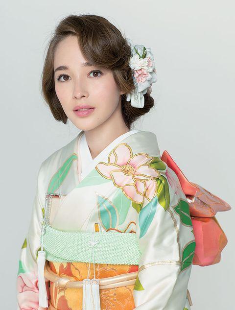 Kimono, Clothing, Costume, Hairstyle, Japanese idol, Hime cut,