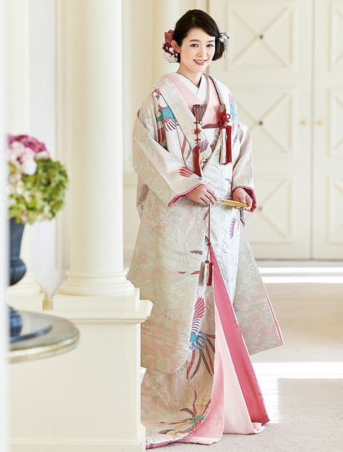 Clothing, Costume, Pink, Kimono, Robe, Textile, Formal wear, Tradition, Outerwear, Dress,