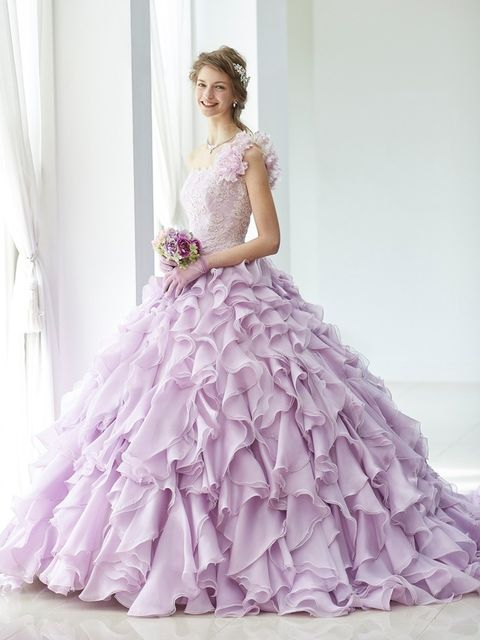 Gown, Dress, Clothing, Wedding dress, Bridal party dress, Purple, Bridal clothing, Fashion model, Shoulder, Pink,