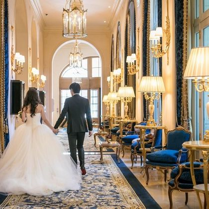 Photograph, Wedding dress, Dress, Bride, Blue, Gown, Bridal clothing, Yellow, Ceremony, Wedding,