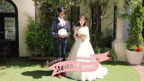 Gown, Bride, Wedding dress, Photograph, Dress, Wedding, Bridal clothing, Pink, Ceremony, Formal wear,