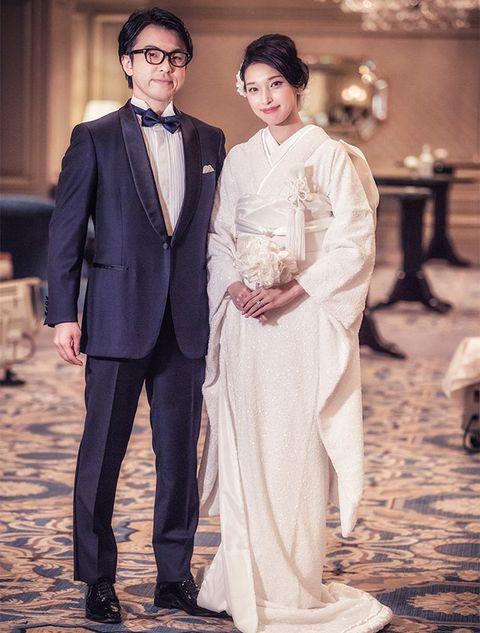 Photograph, Suit, Clothing, Formal wear, Wedding dress, Fashion, Dress, Ceremony, Bride, Event,