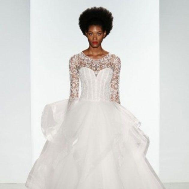 Gown, Wedding dress, Clothing, Dress, Fashion model, Bridal clothing, Shoulder, Bridal party dress, Waist, A-line,