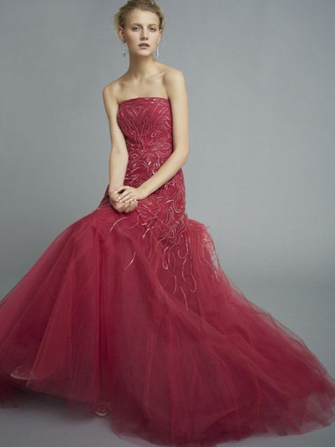 Gown, Clothing, Dress, Fashion model, Bridal party dress, Pink, Shoulder, Waist, Strapless dress, Formal wear,
