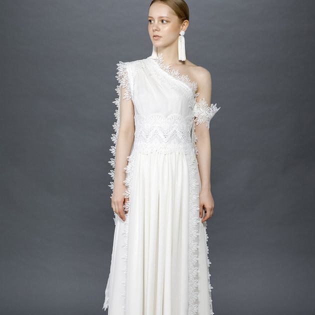 Gown, Clothing, Dress, Fashion model, Wedding dress, Shoulder, Bridal party dress, Bridal clothing, A-line, Neck,
