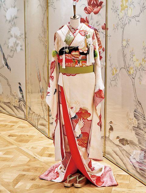 Kimono, Clothing, Costume, Costume design, Peach, Textile, Plant, Blossom, Shimada, Cherry blossom,