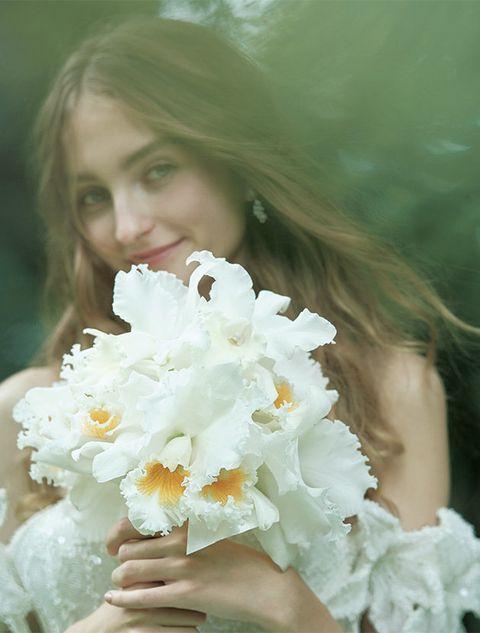 Lip, Petal, Flower, Beauty, People in nature, Flowering plant, Eyelash, Long hair, Blond, Spring,