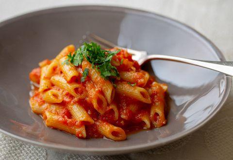 Food, Cuisine, Dish, Ingredient, Penne, Arrabbiata sauce, Vodka sauce, Italian food, Rigatoni, Staple food,