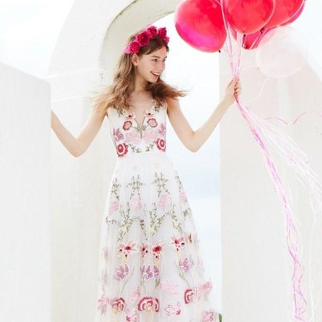 Clothing, White, Pink, Dress, Gown, Fashion, A-line, Petal, Day dress, Pattern,
