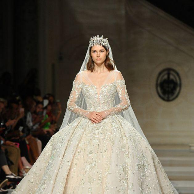 Gown, Wedding dress, Fashion model, Dress, Clothing, Fashion, Bridal clothing, Haute couture, Bridal accessory, Fashion show,