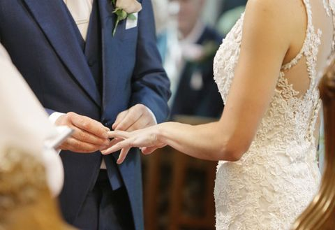 Photograph, Wedding dress, Dress, Yellow, Marriage, Ceremony, Bride, Wedding, Event, Gesture,