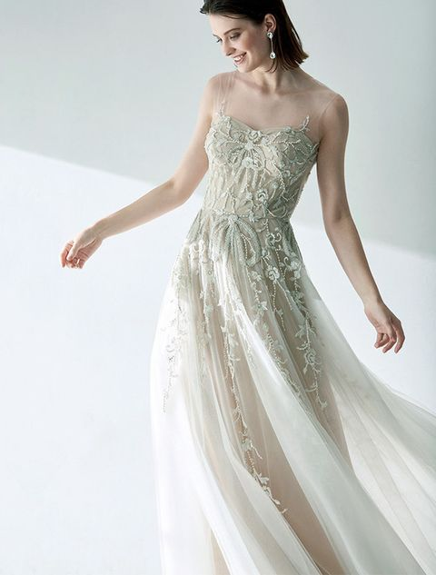 Clothing, Gown, Dress, Fashion model, Wedding dress, Shoulder, White, Bridal party dress, Bridal clothing, Waist,