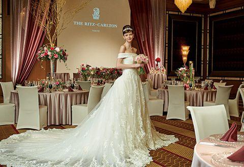 Gown, Wedding dress, Bride, Dress, Clothing, Bridal clothing, Bridal party dress, Shoulder, Photograph, Bridal accessory,