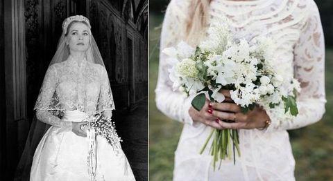 Wedding dress, Photograph, Bride, White, Dress, Gown, Bridal clothing, Bouquet, Veil, Flower Arranging,