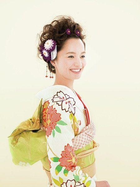 Hairstyle, Sleeve, Style, Dress, Day dress, Peach, Hair accessory, Bun, Makeover, Kimono,