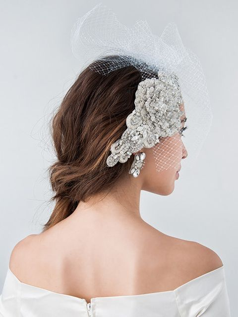 Clothing, Hairstyle, Bridal accessory, Shoulder, Headpiece, Hair accessory, Style, Headgear, Dress, Wedding dress,