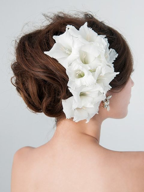 Hairstyle, Skin, Petal, Style, Beauty, Hair accessory, Photography, Bridal accessory, Artificial flower, Brown hair,