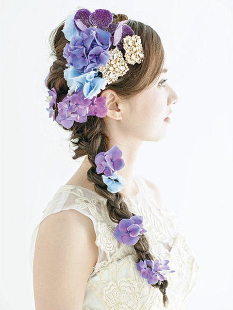 Blue, Petal, Flower, Hair accessory, Purple, Style, Headpiece, Headgear, Lavender, Cut flowers,