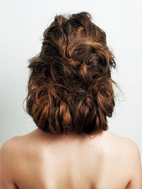 Hair, Brown, Hairstyle, Shoulder, Joint, Back, Style, Beauty, Brown hair, Neck,
