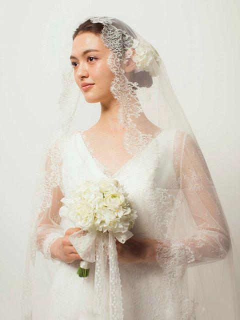Clothing, Bridal clothing, Bridal veil, Hairstyle, Sleeve, Skin, Veil, Dress, Shoulder, Textile,