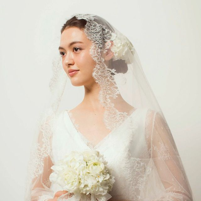 Clothing, Bridal clothing, Bridal veil, Sleeve, Skin, Veil, Shoulder, Dress, Textile, Wedding dress,